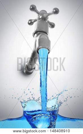 Conservation water concept. Metal faucet with water stream on gray background.