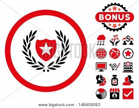 Glory Shield icon with bonus elements. Vector illustration style is flat iconic bicolor symbols, intensive red and black colors, white background.