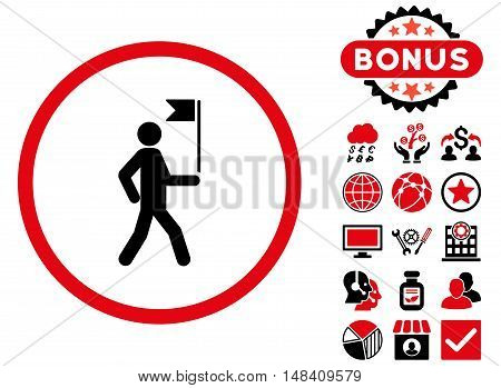 Guide icon with bonus elements. Vector illustration style is flat iconic bicolor symbols, intensive red and black colors, white background.