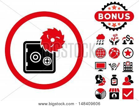 Hacking Theft icon with bonus images. Vector illustration style is flat iconic bicolor symbols, intensive red and black colors, white background.