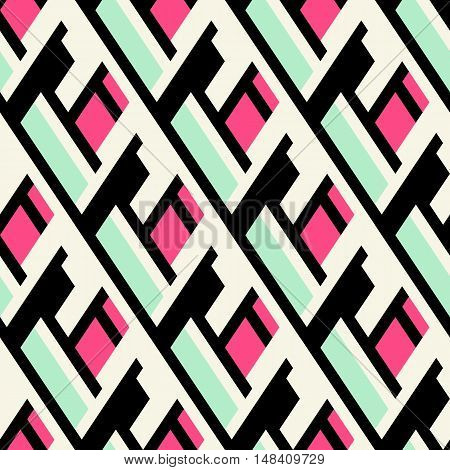 Vector geometric seamless pattern with lines, overlapping stripes, in bright colors. Modern bold argyle print with diamond shapes for fall winter fashion. Abstract dynamic techno op art background