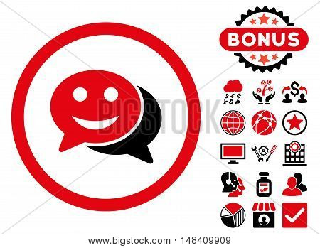 Happy Chat icon with bonus design elements. Vector illustration style is flat iconic bicolor symbols, intensive red and black colors, white background.