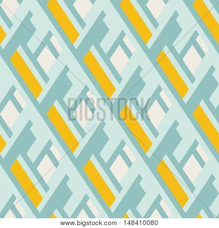 Vector geometric seamless pattern with lines and overlapping shapes in blue, yellow, pastel color. Modern bold print with diamond shape for fall winter fashion. Abstract dynamic tech op art background