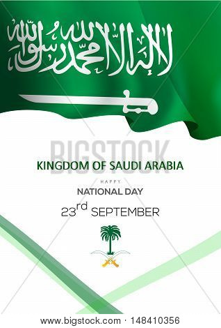 Vector Illustration Of Saudi Arabia Flag For National Day With Vector Arabic Calligraphy. Translatio