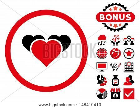 Heart Favourites icon with bonus pictogram. Vector illustration style is flat iconic bicolor symbols, intensive red and black colors, white background.