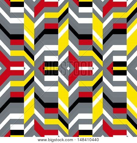 Abstract geometric color blocked pattern with lines, stripes, chevrons, random geometric shapes. Vector seamless abstract print in op art style. Colorful bold textile design for summer fall fashion