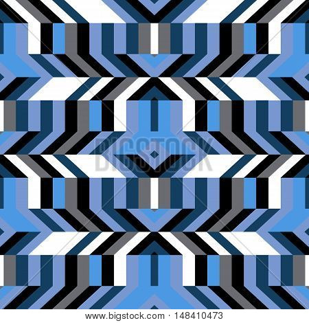 Abstract geometric color blocked pattern with lines, stripes, chevrons, random geometric shapes. Vector seamless abstract print in op art style. Colorful bold textile design for winter fall fashion