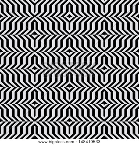 Vector geometric seamless pattern with lines and overlapping triangles in black and white. Striped modern bold print in op art style for summer fall fashion. Abstract dynamic techno chevron background