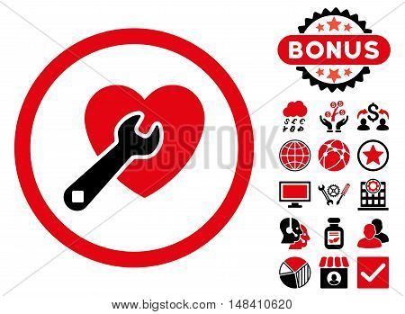 Heart Repair icon with bonus pictogram. Vector illustration style is flat iconic bicolor symbols, intensive red and black colors, white background.
