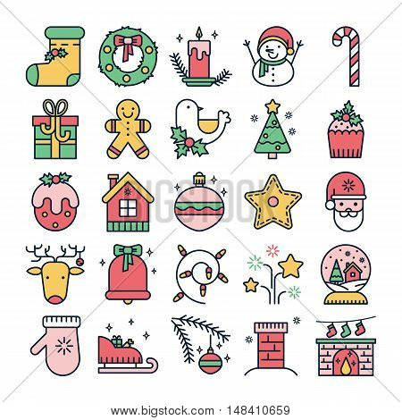 Vector colorful line icons with christmas symbols and objects. Thin line set for web design and application user interface. Useful for holidays infographics.