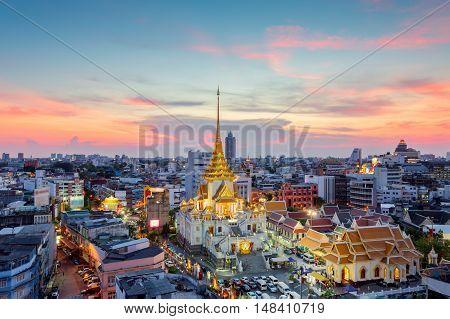 Wat Traimit Witthayaram WorawihanTemple of the Golden Buddha in Bangkok Thailand
