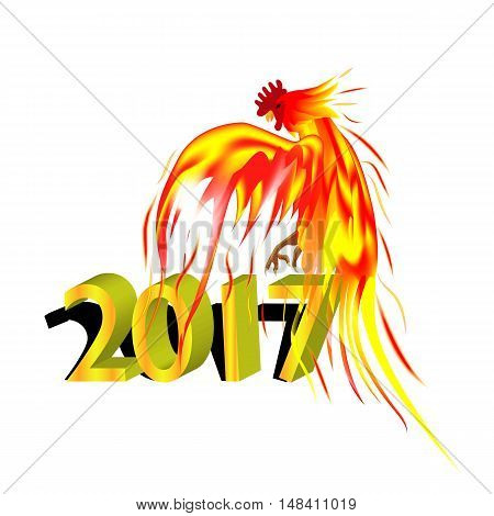 Fiery golden Rooster on a white background. The symbol of the Chinese New Year 2017.