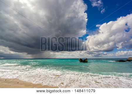 The famous Kathisma beach in Lefkada island Greece on a stormy day