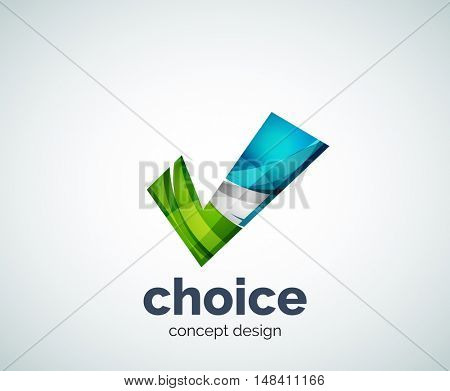 Tick logo template, abstract business icon