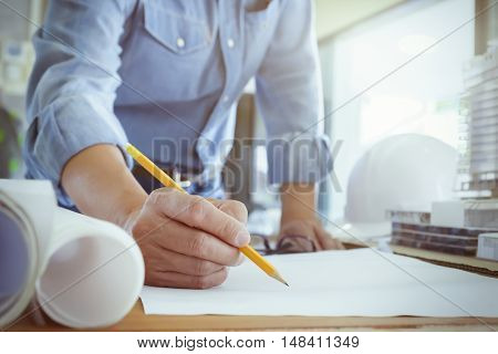 Architect Or Engineer Working In Office, Construction Concept.