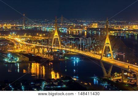 Bangkok City - Beautiful sunset view of Bhumibol Bridge in Bangkok Bridge of transportation for import export Bangkok Thailand
