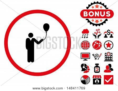 Holiday icon with bonus elements. Vector illustration style is flat iconic bicolor symbols, intensive red and black colors, white background.