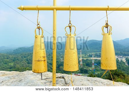 closeup steel bells in Thai Buddhist temple