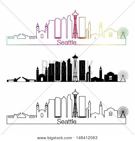 Seattle skyline linear style with rainbow in editable vector file
