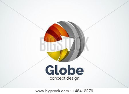 Globe with arrow logo template, abstract elegant business icon