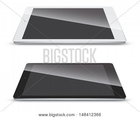 Tablet pc side view isolated on white background in black and white variant. Slate vector mockup with shadow.