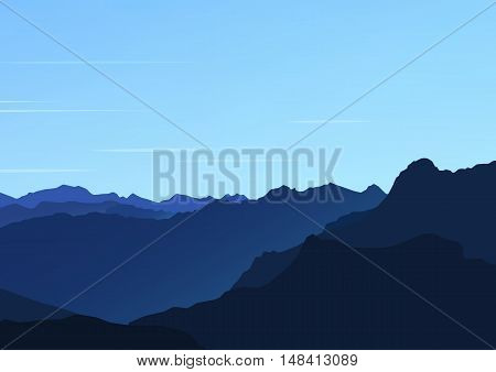 Evening mountain landscape. Vector website background in blue colors
