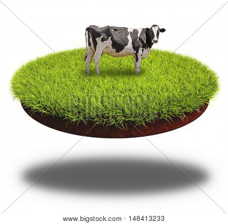 Cow grazing on the round cut piece of soil covered with lush green grass. 3D rendering collage.