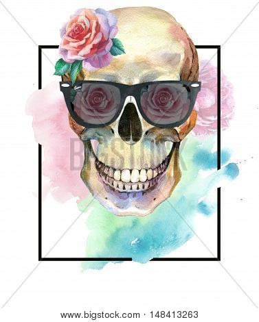 Watercolor tattoo concept with skull in sunglasses element isolated. Tattoo sketch art concept could be used for tattoo, sticker, background, texture, pattern, frame or border.