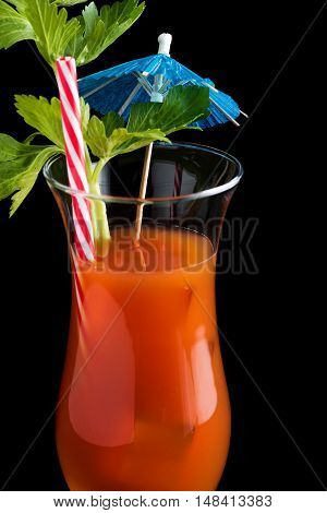 Bloody Mary Cocktails On Black Background