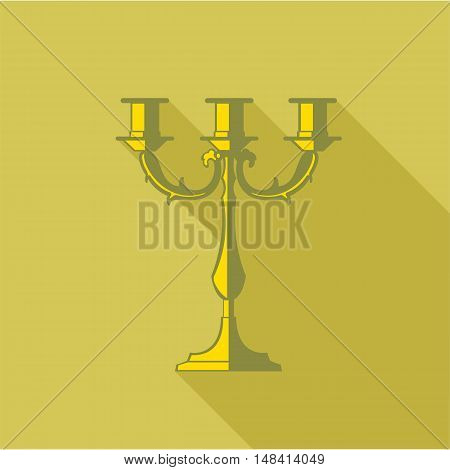 Digital vector candlestick with shadow over dark yellow background, flat style