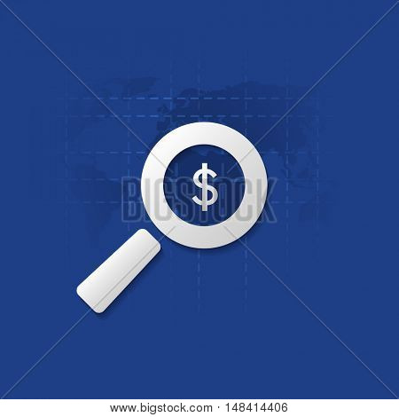 Business Analysis, Audit or Financial Report Icon, Findings Symbol with Dollar Sign and Magnifying Glass