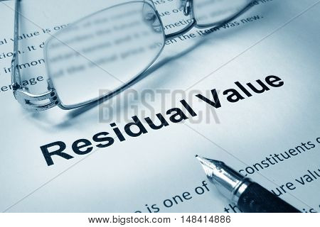 Paper with sign Residual value. Business concept.