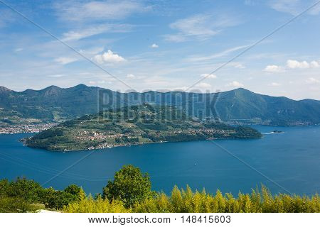 Landscape of Monte Isola Island in North Italy