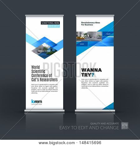 Vector set of modern roll Up Banner stand design with red rhombus, rectangle and diagonal strip with overlap effect for business and construction. Brochure and presentation for exhibition, show.