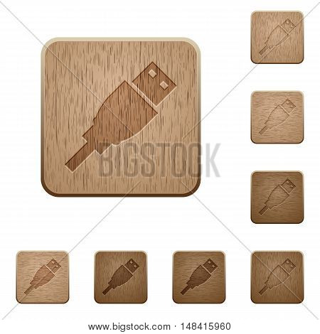Set of carved wooden USB plug buttons in 8 variations.