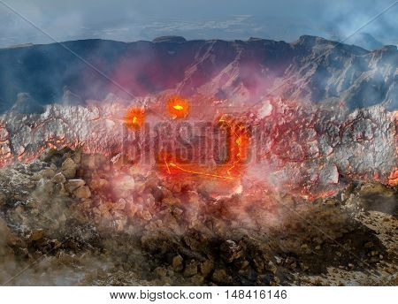 Composition about smiling Hawaiian Kilauea volcano that looks like eyes and a smile seen from above its crater. Located in Big Island, Hawaii, United States. A restless volcano in business since 1983.