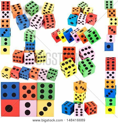 Big size collection of colorful foam dice isolated on white background