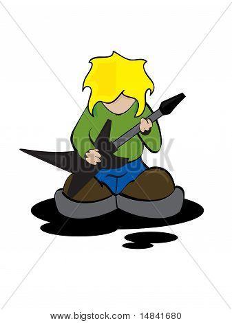Guitarrista de Rock dos desenhos animados