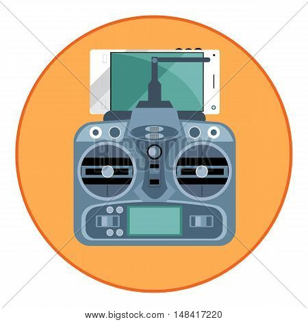 Digital vector blue drone remote control with antenna and mobile phone, in orange circle, flat style