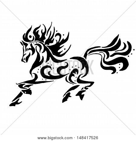 Black horse coloring or tattoo isolated on white background