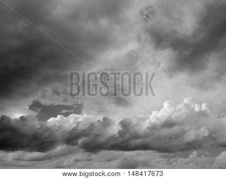 Dark storm cloudscape of scary cloudy sky background. Storm is coming.