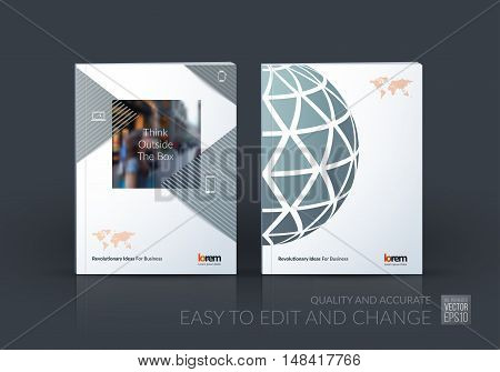 Brochure template layout, cover design annual report, magazine, flyer, leaflet in A4 with blue dynamic rectangles and sphere with overlap effect for business and hi-tech. Creative vector art.