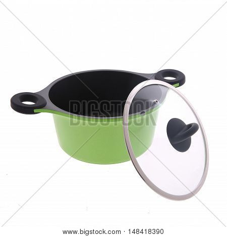 Green saucepan with lid isolated on white background