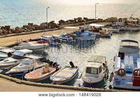 Tsilivi marina in Zakynthos at sun down Greece