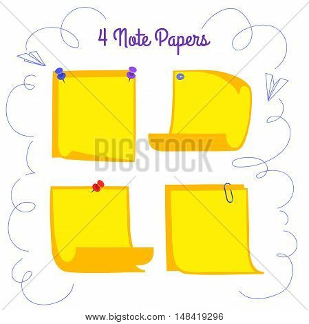 Four pinned yellow note papers in cartoon style, memo with curled corners, isolated note paper on white background, EPS 8