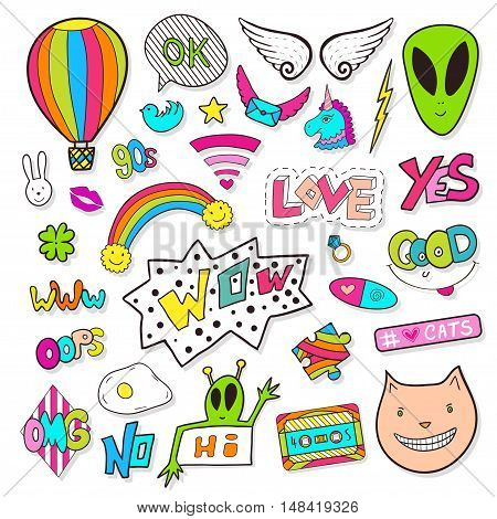 Fashion patches elements with alien, speech bubbles, cassette. Bright vector clip art. Cartoon stickers in 80s 90s comic style