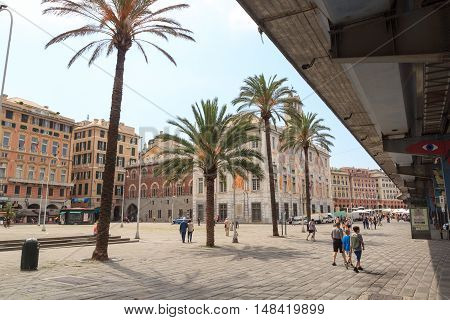 Genoa, Italy - June 26, 2016: Palace Palazzo San Giorgio near Porto Antico. The palace was built in 1260 by Guglielmo Boccanegra. The palace was used for a time as a prison.