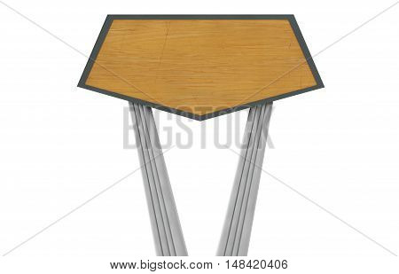3d render of a wooden bench decoration, tray,