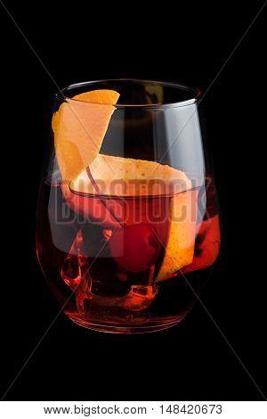 Negroni Cocktails On Black Background
