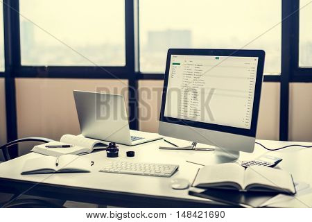 Stationary Workplace Workspace Style Computer Concept